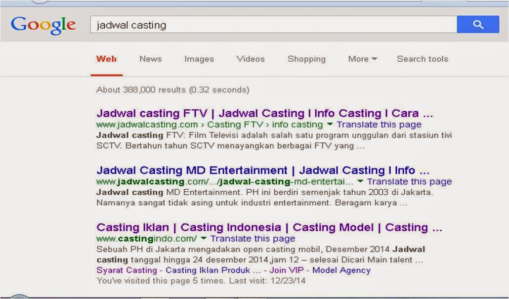 Tips Cari info lowongan casting di Google
