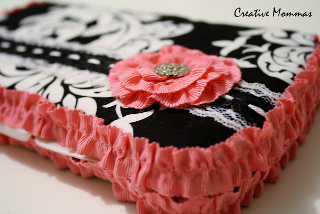 fabric, pink, black, flower, covered wipe case