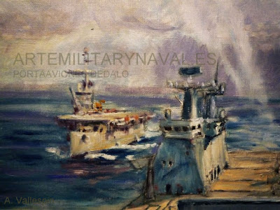 Pintura al óleo del portaaviones Dédalo