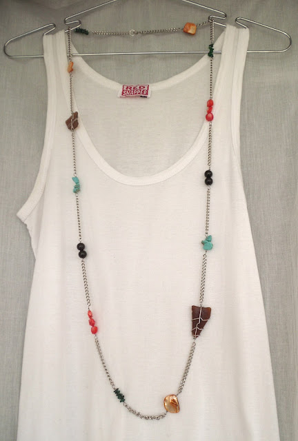 brown seaglass, turquoise, black glass beads and shell on stainless steel chain rope necklace
