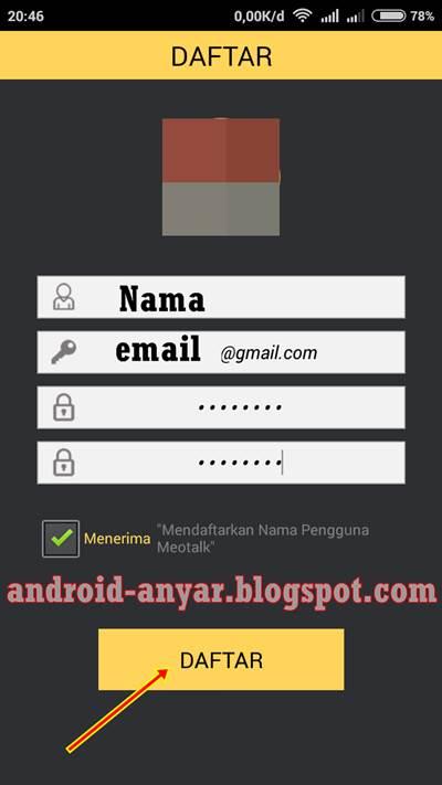 cara registrasi akun meotalk android baru