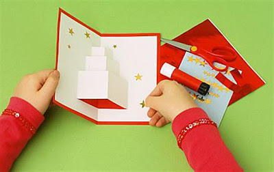Birthday christmas present gift card pop up 3d tutorial step by step easy simple craft christmas decoration fun step 3