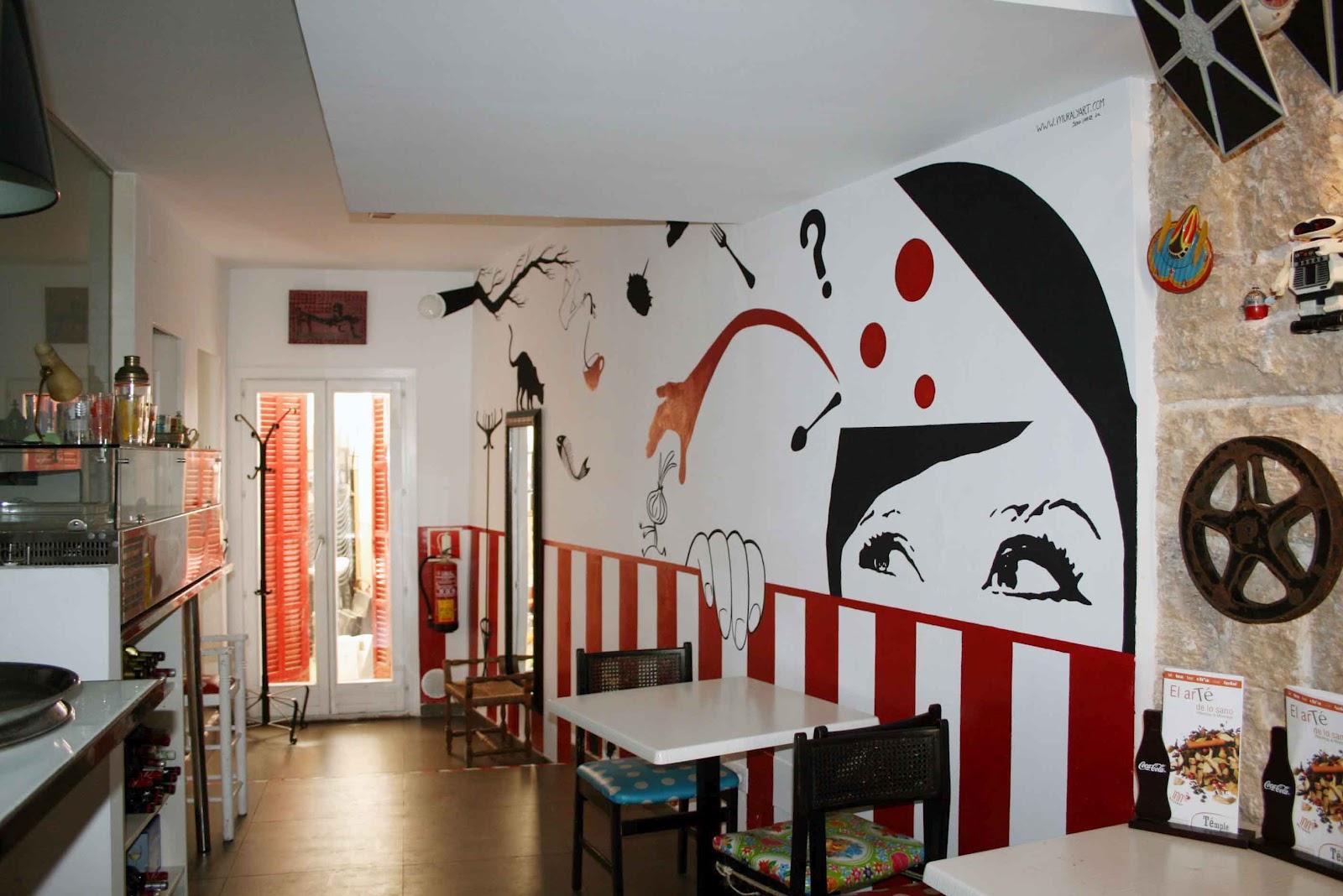 Pintura mural arte en pared y murales decorativos en - Decoracion de interiores de bares ...