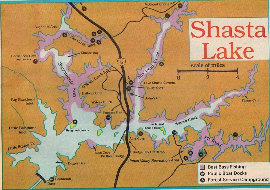 California fishing and hunting clubs 2017 fishing map for Shasta lake fishing report