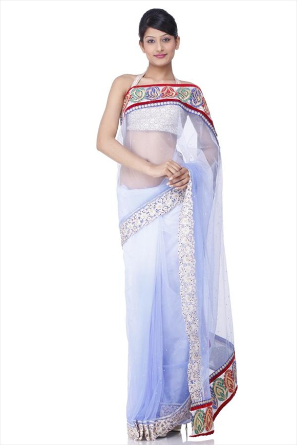 Aster Purple Net Saree