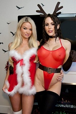 Katie Banks Goes Lesbo With Santa's Sexy Little Helper Kiss Kara!