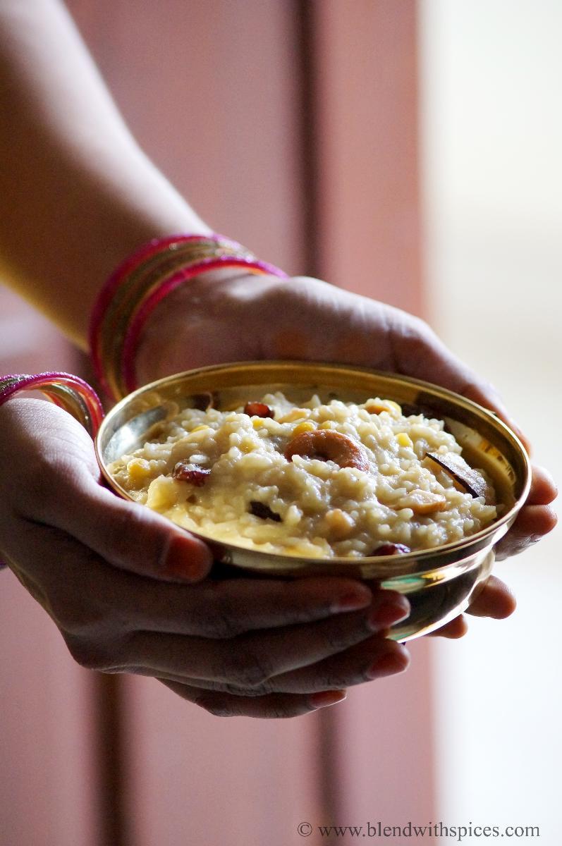 how to prepare bellam pongali, andhra bellam pongali recipe, naivedyam recipe, andhra recipes