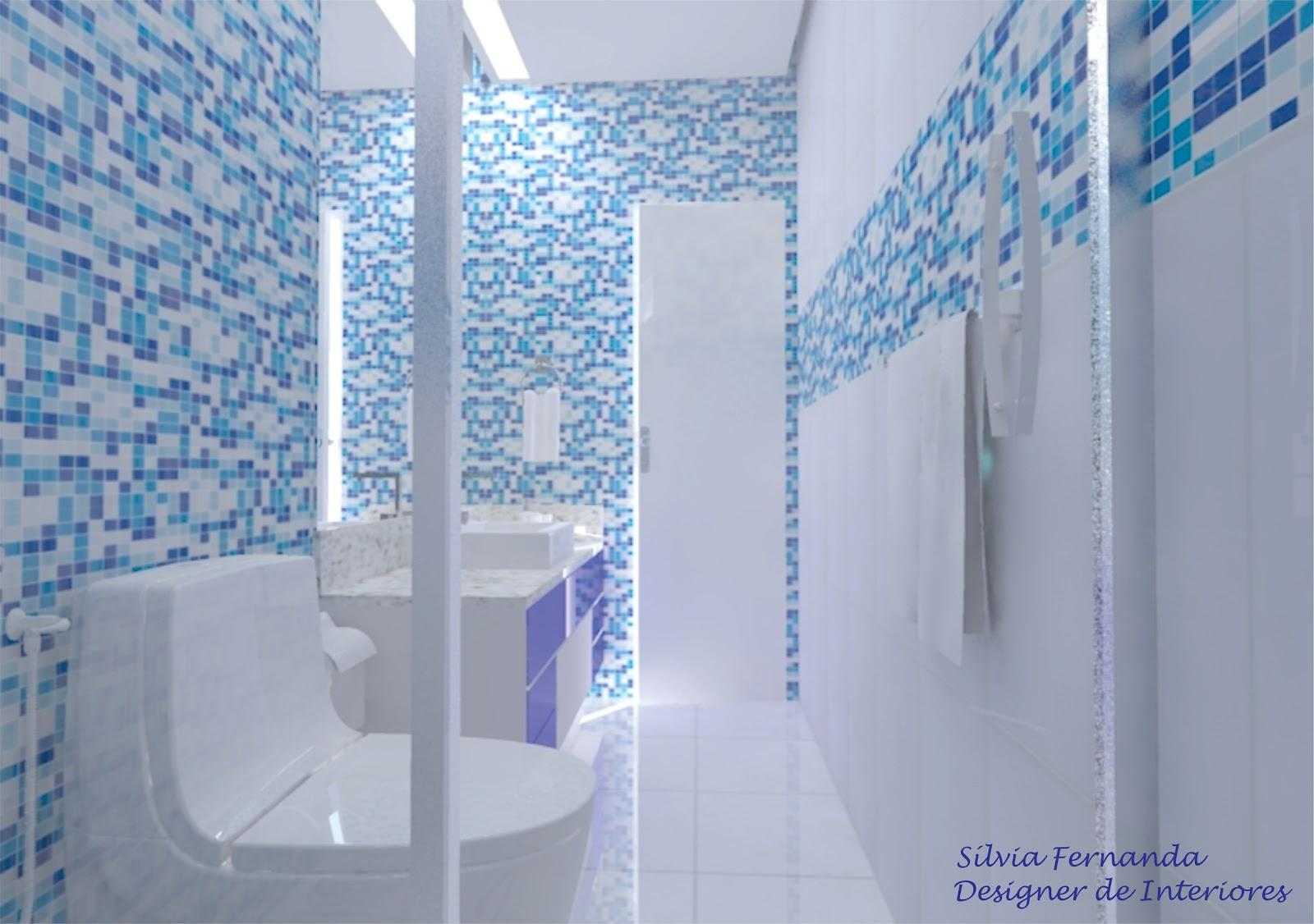 Banheiro azul e branco #287FA3 1600x1126 Bancada Banheiro Azul