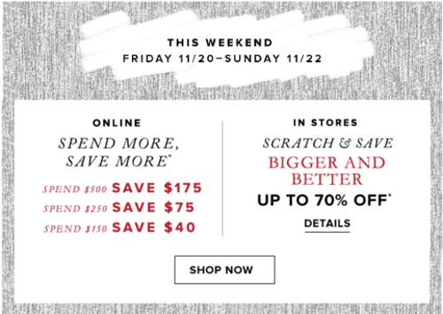 Hudson's Bay Scratch & Save Weekend Up To 70% Off