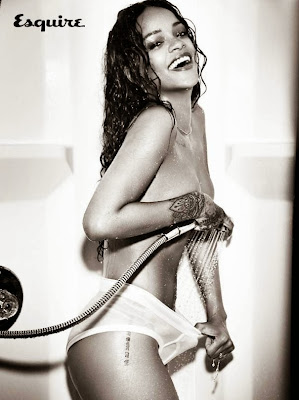 Rihanna topless in Esquire UK magazine photoshoot December 2014