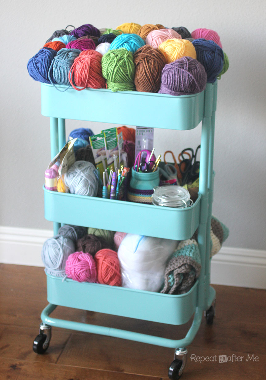Ikea Console Table Over Bed ~ am thrilled with my new crochet cart! Convenient, accessible, and