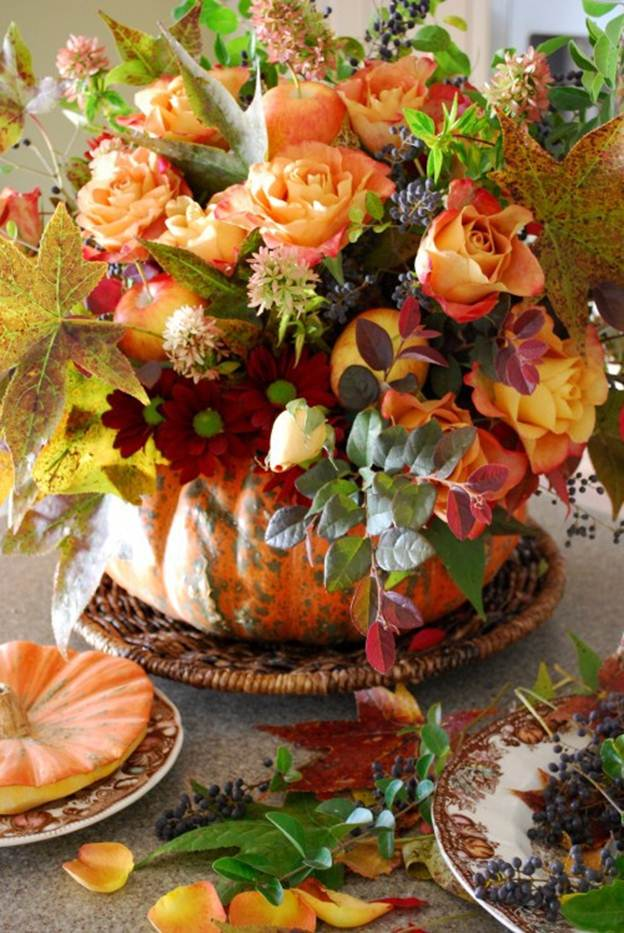The domestic curator fall pumpkin floral arrangement