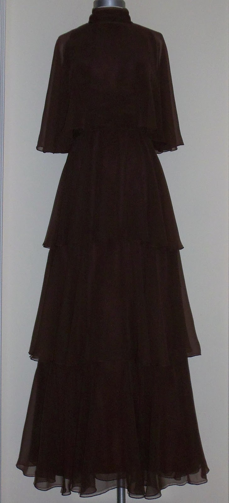 Thrifty Chic Shop: Vintage Brown Tiered Gown by Saks Fifth Ave