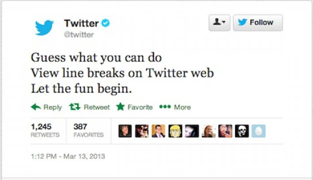 line breaks twitter