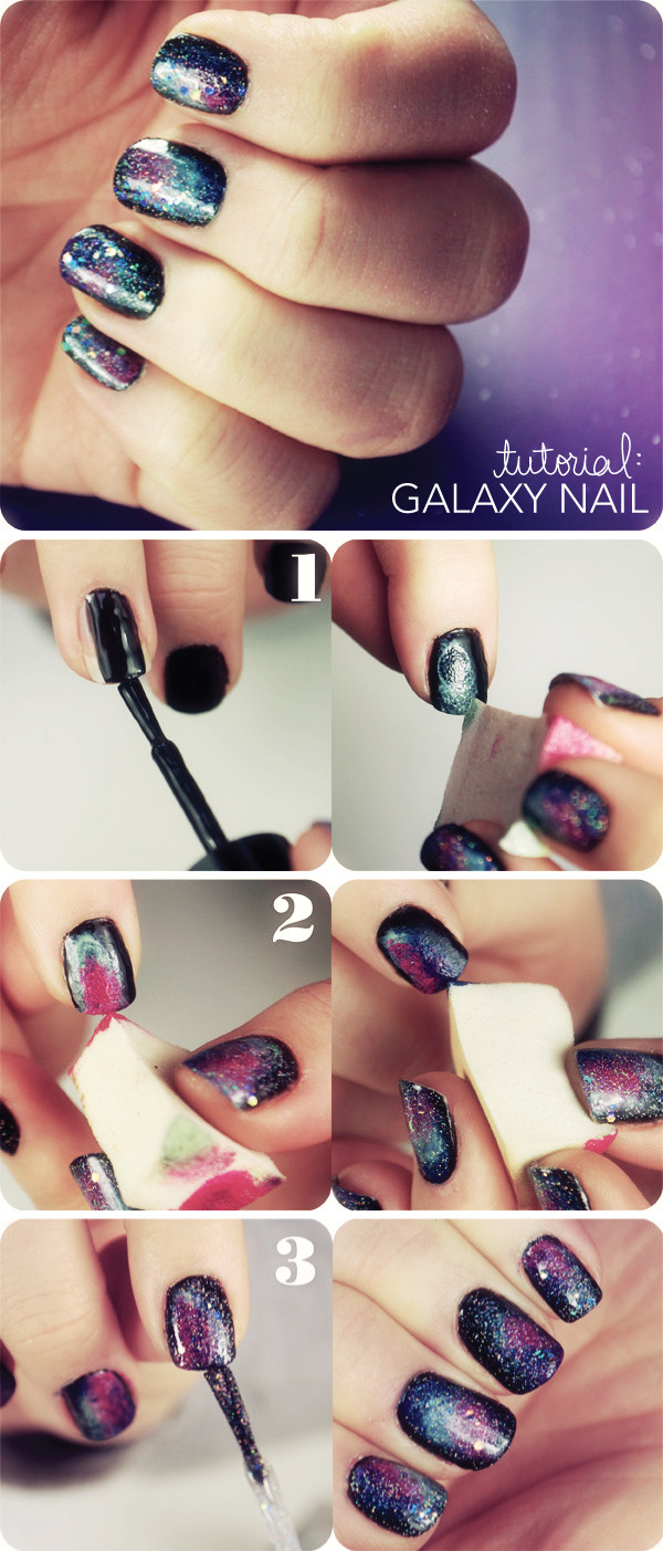 Simple Step-by-Step Galaxy Nail Manicure Tutorial