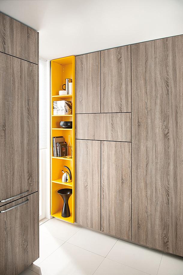 Dise o muebles de cocina laminada en chapa de madera mate for Muebles de cocina amarillos