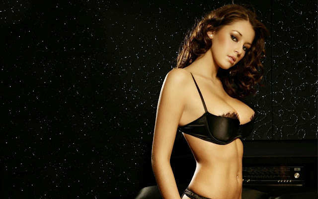 Keely Hazell in Black Bra