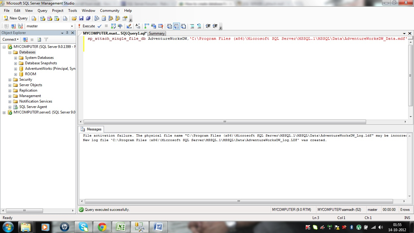 Manage sqlserver rebuild the ldf of a database using mdf file - Rebuild file allocation table ...