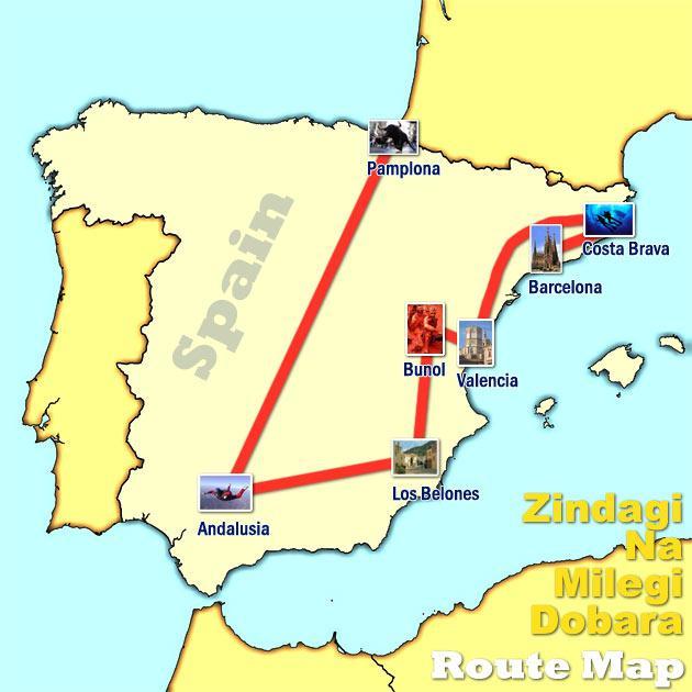 Open World Zindagi Na Milegi Dobara Road Trip Route Map – Trip Route Map