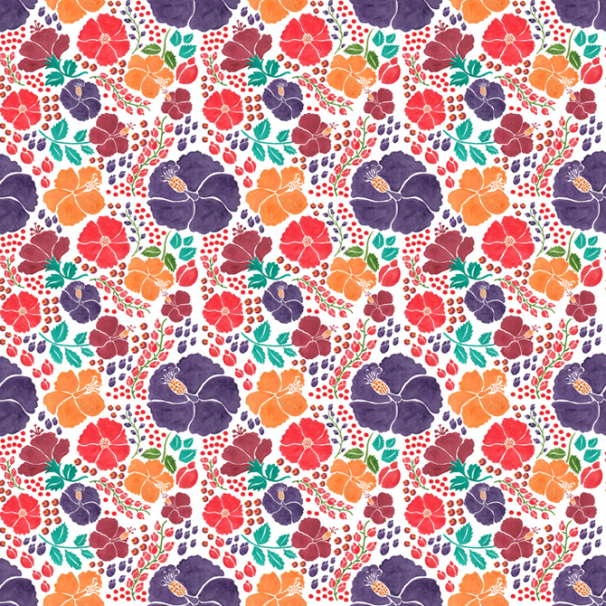 Scattered Flowers Pattern Printed On Merchandise Illustration By Haidi  Shabrina