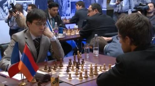 L'Arménien Levon Aronian bat le Français Maxime Vachier-Lagrave © Site Officiel