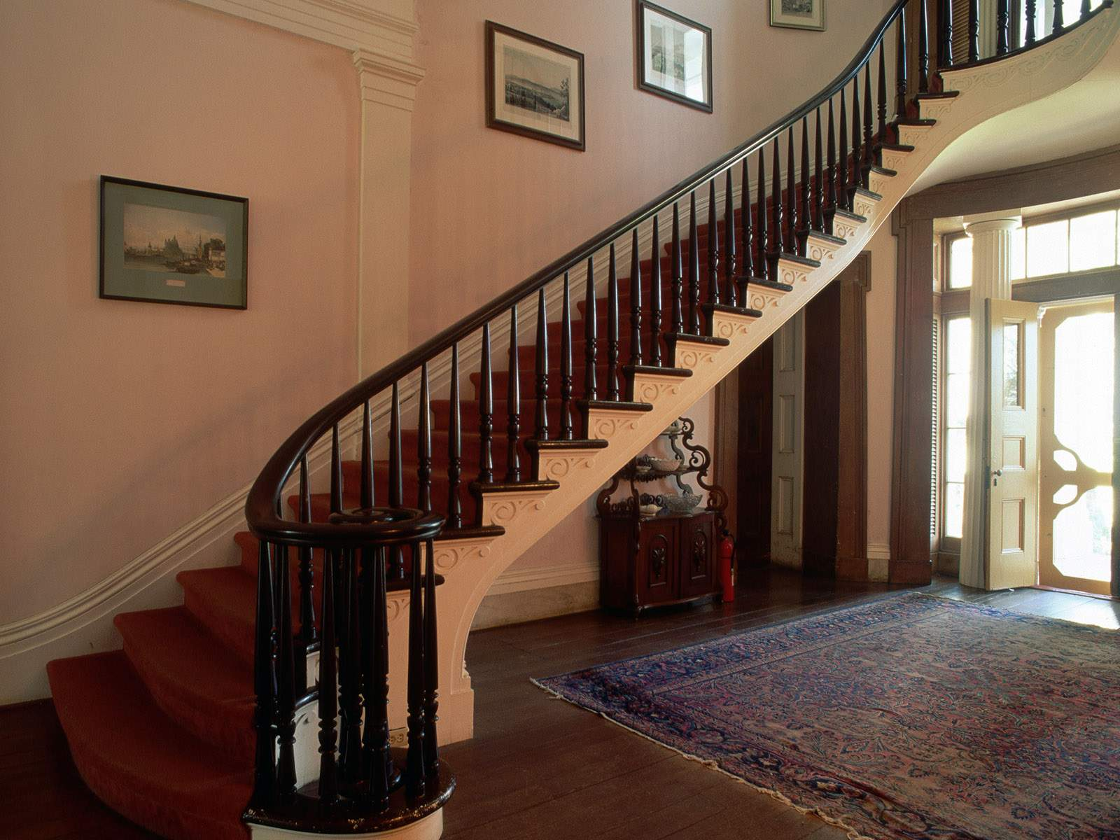 wood stair railings interior design