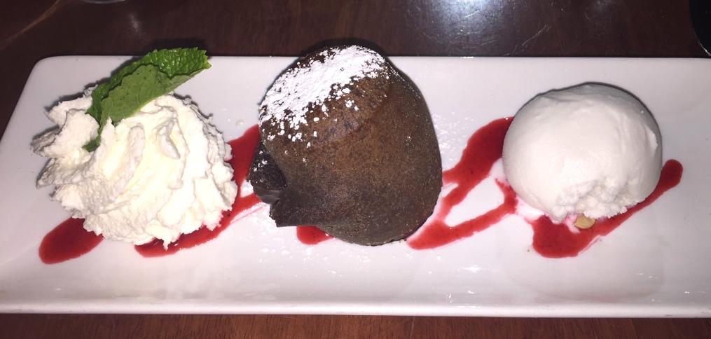 Dark Lava Chocolate Cake and Homemade Coconut Sherbet