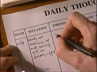 CBT filling in the daily thoughts diary