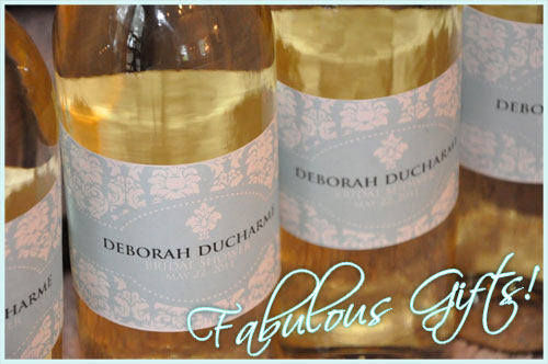 Fabulous Wine Labels for a Bridal Shower! :  wedding wine bottle labels labels wine shower bridal shower blue gold white bridesmaids inspiration diy Gifts