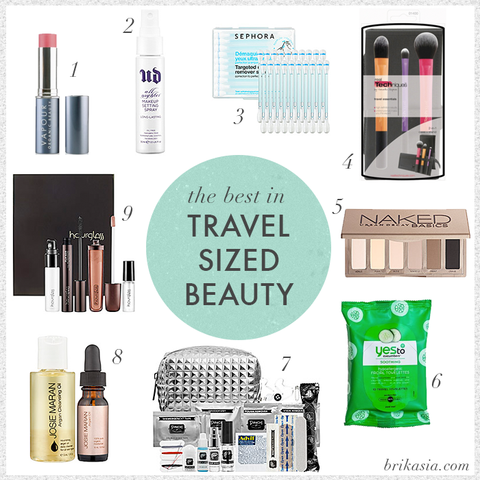 the best beauty products for travel, travel size makeup, vapour aura blush, urban decay makeup setting spray, real techniques travel essentials set, urban decay naked basics palette, yes to cucumbers facial towelettes, minimergency kit, josie maran argan oil
