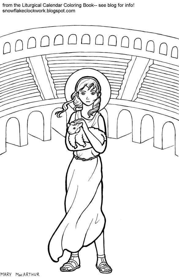 Snowflake Clockwork: St. Agnes coloring page and announcement