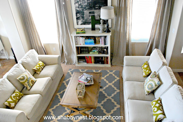 The shabby nest living room spruce up the reveal - Two sofa living room design ...