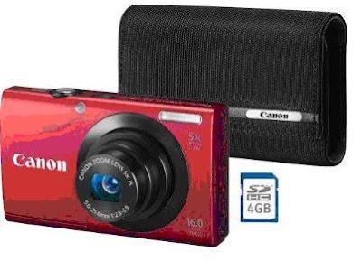 Canon PowerShot A3400 IS Red Bundle Color