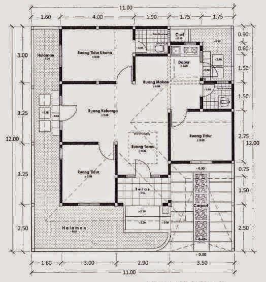 Gambar Denah Rumah Sederhana 1 Lantai 3 Kamar Tidur