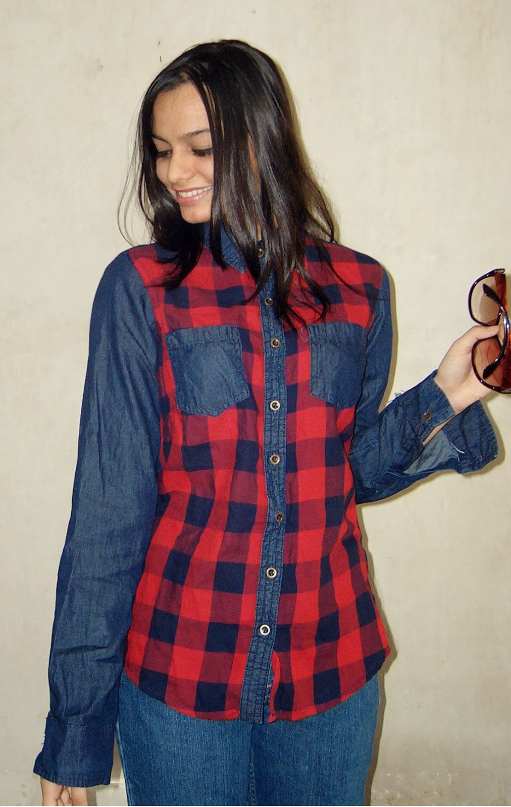 street shoppping, how to style a denim shirt, personal style, how to style tartan shirts, indian fashion blogger