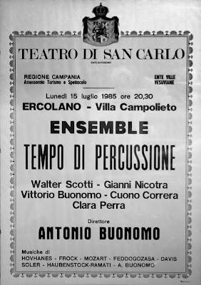 locandina tempo di percussione 1985