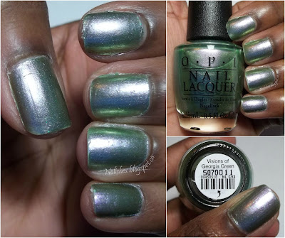 Swatch of OPI's 'Visions of Georgia Green', a polish inspired from the classic pale green glass coke bottle, to mark the coke bottle's 100th anniversary