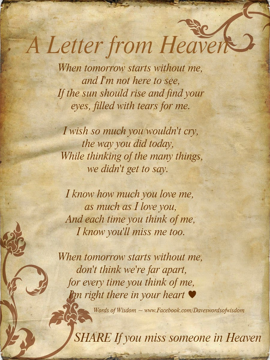 Loss Of A Loved One Quotes And Poems Daveswordsofwisdom A Letter From Heaven.
