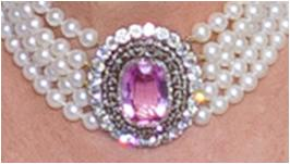 The Ss Of Cornwall S Five Strand Pearl Choker With Pink Topaz Clasp