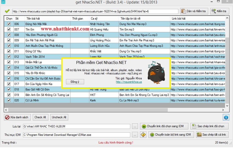 Get Album nhaccuatui mp3zing nhacso với phần mềm Getnhacso.net