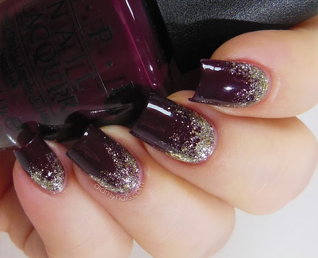 glitter gradient with opi spark de triomphe
