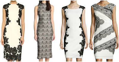 One of these black and white lace sheath dresses is from Lela Rose for $1,695 and the other three are under $100. Can you guess which one is the more expensive dress? Click the links below to see if you are correct!