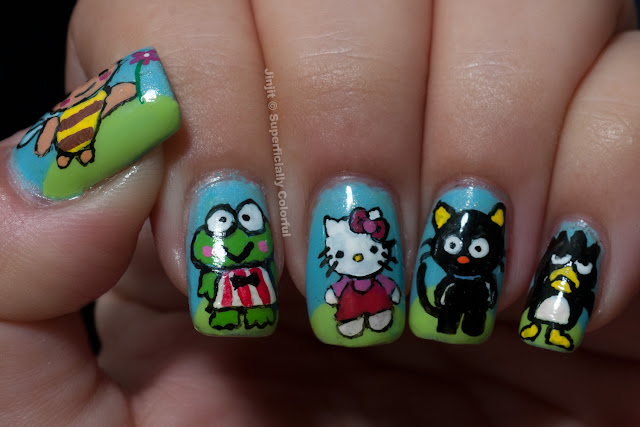 Sanrio Characters 6 Harts Polish Summer Skies Bondi New York The Limelight Freehand Nail Art