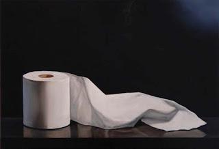 realistic toilet paper painting by  jeanne vadeboncoeur