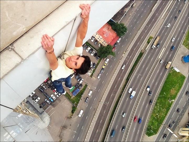 Russian Daredevil Hanging Off Vertigo-Inducing Ledges