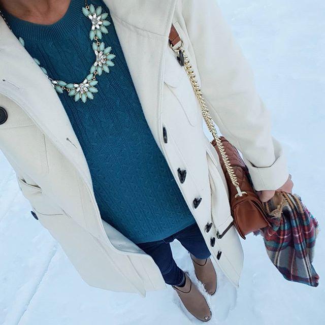 Esprit Coat (similar - 50% off!) // Banana Republic Factory Sweater (almost exact, similar on sale for $17) // Joe's Jeans // Cole Haan Calixta Booties - only $80, regular $198! // Rebecca Minkoff Handbag // Merona Scarf // Etsy Necklace (similar)