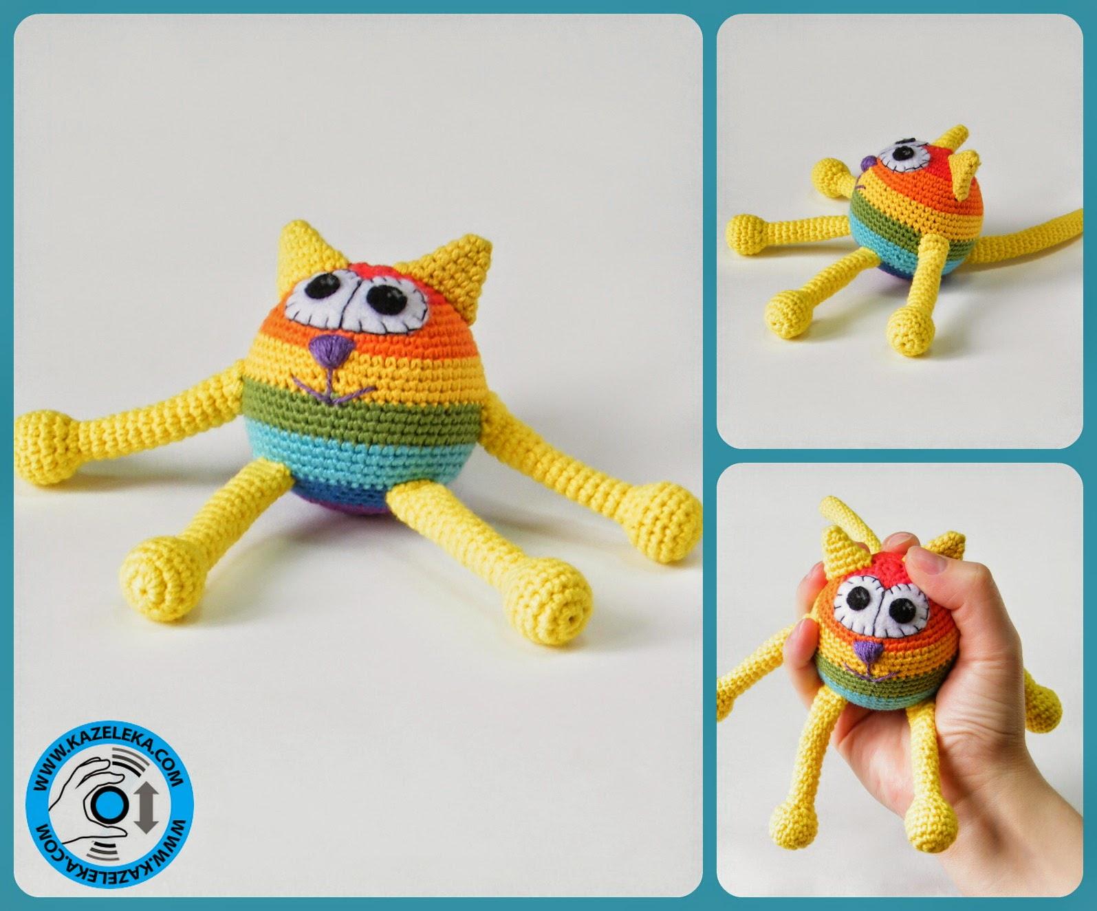 вязаная игрушка кот радуга