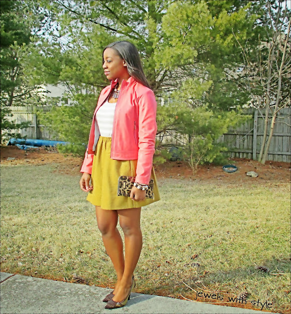 pink coat, jewels with style, circle skirt, tan circle skirt, joe fresh skirt,closet clean out, black fashion blogger, pink and brown outfit, joe fresh skirt, cleaning out closet