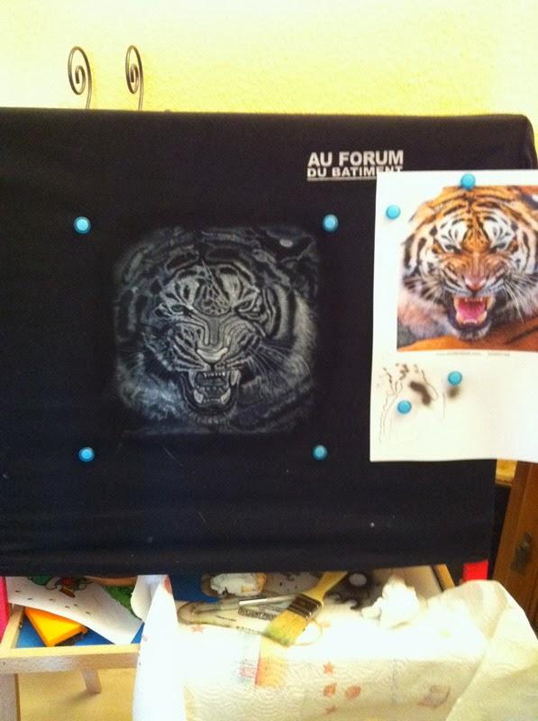 photo(2) tuto et pas a pas tigre sur teeshirt peinture aérographe
