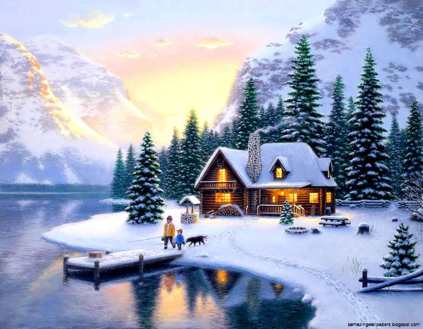 Winter Mountain Cabin Backgrounds Mountain Cottage In